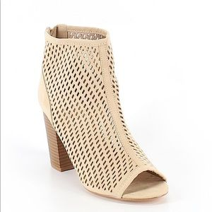 Chunky cutout peep toe boots